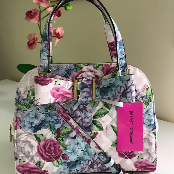 106c64319f1e Betsey Johnson Dome Satchel Floral with Bow NWT NWT